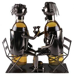 Couple Wine Bottle Holder by Clever Creations | Premium Metal Design Easily Fits 2 Bottles | Dec ...