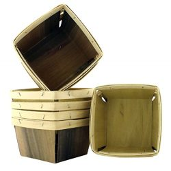 "One Quart Wooden Berry Baskets (8-Pack); 5.5"" Square Vented Wood Boxes for Fruit Picking or Arts ..."