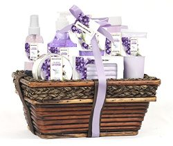 Green Canyon Spa Luxury Wicker Basket Gift Set in Lavender, 8 Pieces Premium Bath and Body Spa P ...