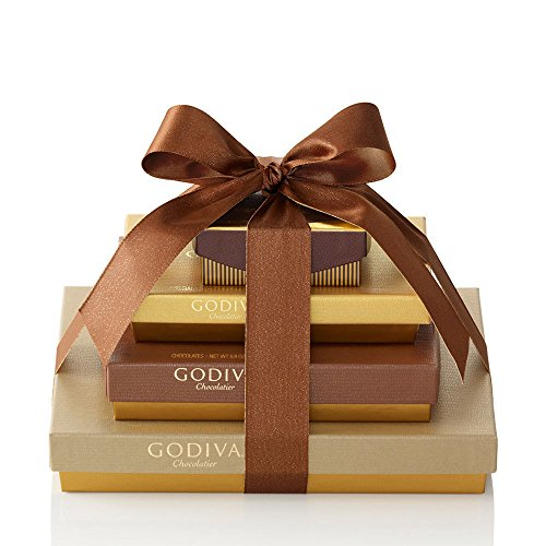 Godiva Chocolatier Sweet Surprise Gift Tower, 46 Count, Chocolate Variety Christmas Gift Basket