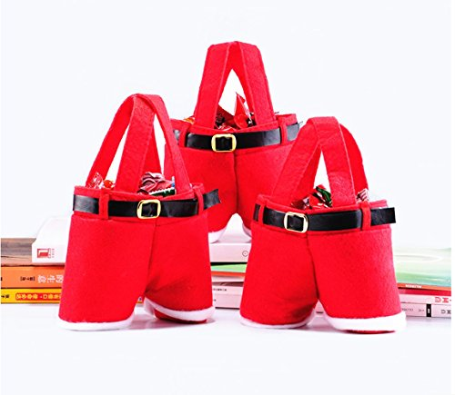 Homecube Christmas Candy Bag Santa Pants Gift and Treat Bags with Handle Portable Candy Gift Bas ...