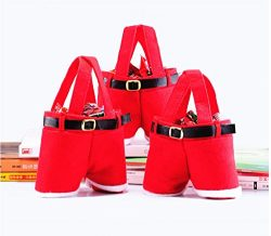 Homecube Large Size Christmas Candy Bag Wine Holders Santa Pants Gift and Treat Bags with Handle ...