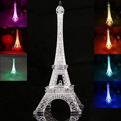 Totoo LED Light Up Eiffel Tower, Built-in Color Changing Night Light, Battery Included Desk Lamp ...