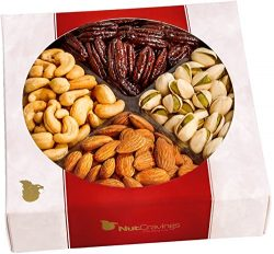 Nut Cravings Gourmet Nut Medium Gift Tray with Striking Presentation – 4-Section Holiday o ...