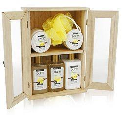 Spa Chest Sandalwood Vanilla Premium Spa Basket for Men & Women. Holiday Gifts for Men. Delu ...