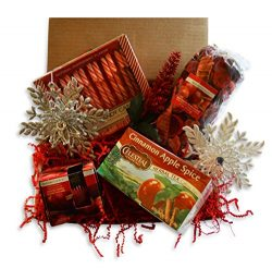 Christmas Gift Basket- Assortment of Ornaments, Peppermint Candy Canes, Scented Soy Candle, Potp ...