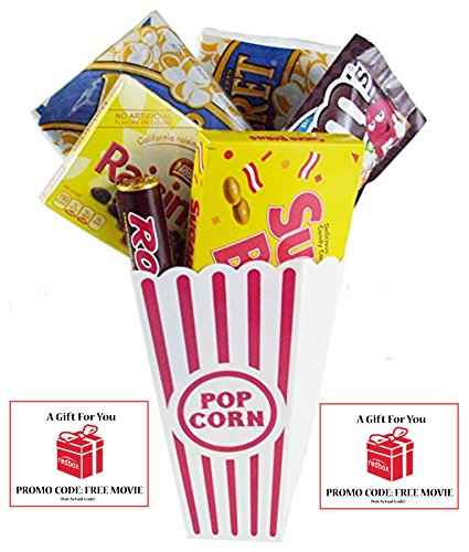 movie night popcorn candy and redbox movie gift basket includes movie theater butter popcorn