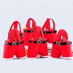 Christmas Candy Bag, 6pcs Kid Gift Present Bags Santa Pants Handbag Xmas Gift Baskets Gift Wrap  ...