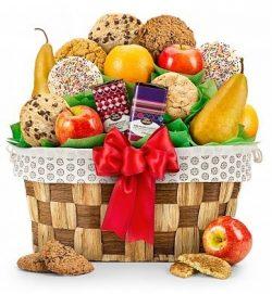 Fresh Fruit and Cookies Gift Basket – Premium Gift Basket for Men or Women