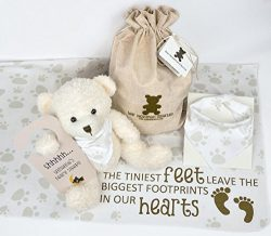 Baby Gift Set with Teddy Bear, Baby Bandana Bib, Receiving Blanket, Baby's Door Sign, and  ...