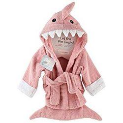 """Baby Aspen """"Let the Fin Begin""""  Shark Robe, Pink, 0-9 Months"""
