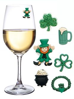 St Patricks Day Magnetic Drink Markers and Wine Charms for Stemless Glasses Beer Mugs or Cocktai ...