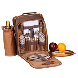 Flexzion Picnic Bag Kit – Set for 2 Person With Cooler Compartment, Detachable Bottle/Wine ...