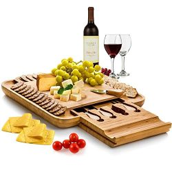Bamboo Cheese Board & Cutlery Set with Slide-Out Drawer. By: Bambüsi