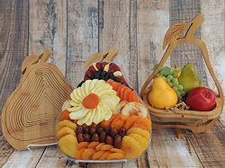 Large Dried Fruit Gift Basket Pear Tray, Premium Multi-Functional Foldable Tray, Trivet and Frui ...