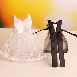 Zehui 24pcs European style Organza Drawstring Candy Bag Bride Dress Groom Tuxedo Gift Pouches We ...