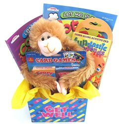Kids Get Well Gift Box For Young Kids With Activity Books and Stuffed Animal comes Wrapped and R ...