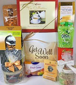 Gourmet Get Well Gift Box Basket – For Cold / Flu / Illness – Over 3.5 Pounds of Car ...