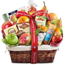 Gourmet Abundance Fruit Gift Basket, (Merry Christmas)