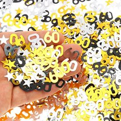 60th Birthday and Wedding Anniversary Party Table Confetti Decorations – 2400 Pieces, Gold ...