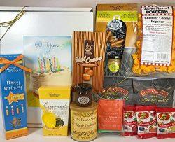 Happy 60th Birthday Gift Box Basket – Send Gourmet Coffees, Teas, Pretzels, Mustard, Fudge ...