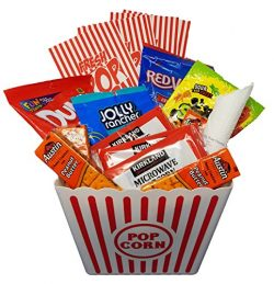 Movie Night Snack Basket with Popcorn, Jolly Rancher Chews, DumDums, Red Vines, Sour Patch Kids, ...
