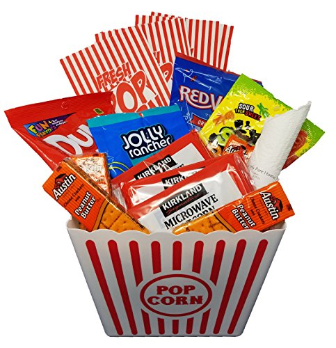 movie night snack basket with popcorn jolly rancher chews