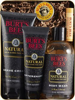 Burt's Bees Men's Gift Set, 5 Natural Products in Giftable Tin – Shave Cream, Afters ...