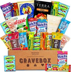 CraveBox – The Healthy – Variety Assortment Bundle of Fruit Snacks, Granola Bars, Po ...