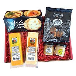 Specialty Gourmet Snack Gift Basket – features 100% Wisconsin Cheeses, Crackers, Pretzels  ...