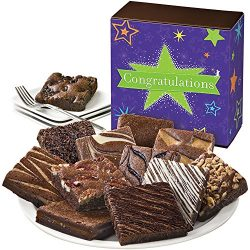 Fairytale Brownies Congratulations Dozen Gourmet Food Gift Basket Chocolate Box – 3 Inch S ...
