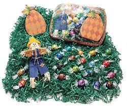 Deluxe Autumn Halloween Gift Basket – Lindt Lindor Gourmet Chocolate Truffles, Scarecrow & ...
