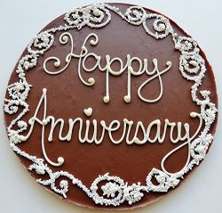 Chocolate Pizza®, Happy Anniversary, 14 Ounces, 10 Inch, Hand-Decorated, Made in USA