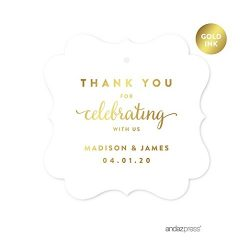 Andaz Press Personalized Fancy Frame Square Wedding Gift Tags, Metallic Gold Ink, Thank You for  ...