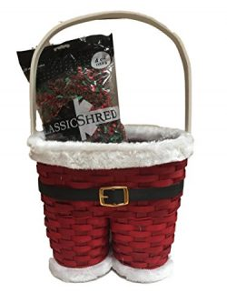 Santa Claus Pants Painted Wicker Holiday Gift Basket and 4 oz Filler Bag Bundle