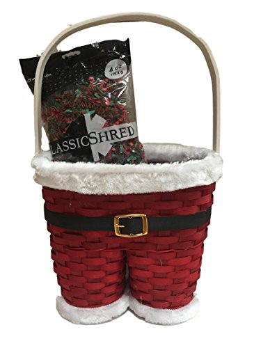 Santa Claus Pants Painted Wicker Holiday Gift Basket and 4 oz Filler Bag Bundle