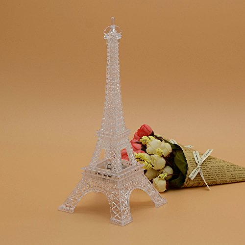 8 Inch LED Light Up Eiffel Tower, Built-in Color Changing Night Light, Battery Included Desk Lam ...