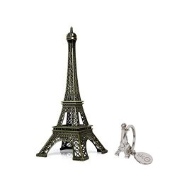 SiCoHome Eiffel Tower Statue 9.8inch Bronze Paris France Centerpiece Metal Eiffel Tower for Cake ...
