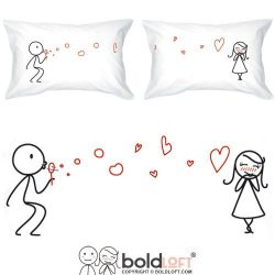 BOLDLOFT From My Heart to Yours Couples Pillowcases for Him and Her (King Size)|Cute Christmas G ...