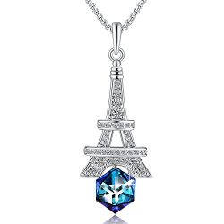 Change Color Neckalce PLATO H Eiffel Tower Pendant Necklace with Swarovski Cube Crystal Woman Fa ...