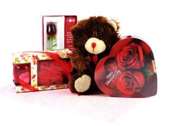 LoveBugs Valentine's Day Box of Chocolate, Spa Treatment, Glass Rose Keepsake and Teddy Be ...