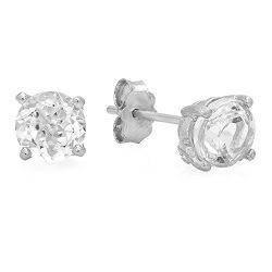 0.60 Carat (ctw) Sterling Silver Round Cut Genuine White Topaz Ladies Basket Setting Stud Earrings