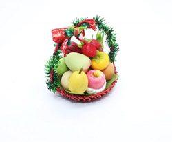 Decoration Xmas Fruit Gift Basket Dollhouse Miniature Handmade Food Supply Set 1