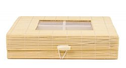 Bamboo Snack Basket Tray Organizer with Clear Lid Window – 8.5 x 7.5 Inches