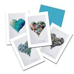 Donald Verger Photography Fine Art Note Cards. Elegant Sea Glass Hearts. 3.5×5. Set of 8 Be ...