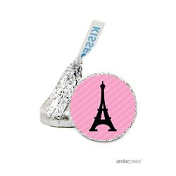 Andaz Press Chocolate Drop Labels Stickers, Wedding, Paris Eiffel Tower, 216-Pack, For Hershey&# ...