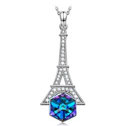 "Necklace Jewelry Gifts for Women Girls Her Swarovski Crystals KATE LYNN ""Eiffel Tower&#822 ..."