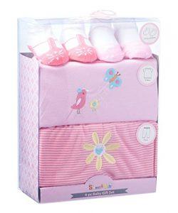 Sweet & Soft 4 Piece Baby Shower Gift Basket set (BX085-Pink)