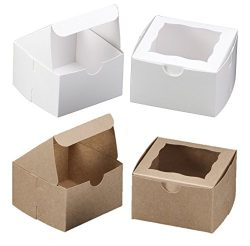 White Bakery Box With Window 4x4x2.5 inch – 25 Pack – Eco-Friendly Paperboard Take O ...