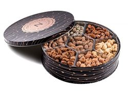 The Nuttery Metal Tin Gift Box, Mixed Nuts Holiday and Corporate Gift Tray, 7 Section Nut Gift Box